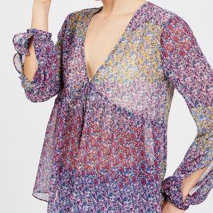 Floral, sheer peasant blouse
